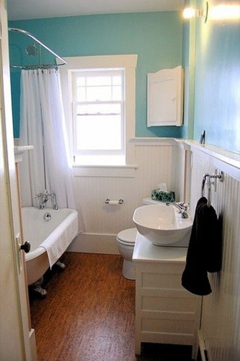 small bathroom ideas. I like the white boarding half way up wall. Diff colour paint up top