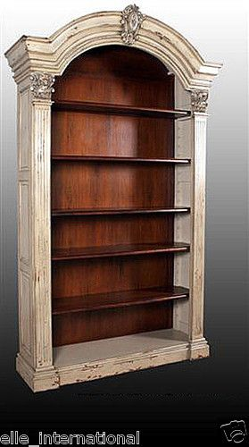 Antique Distress Wash White Solid Mahogany Arch Bookcase Bench Made Quality New