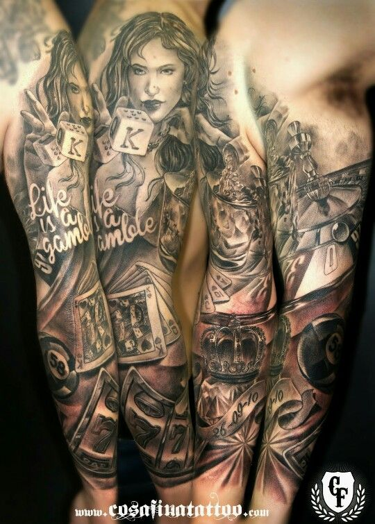 1000 images about gambling tattoo ideas on pinterest for How to blend tattoos into a sleeve