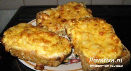Запеченный тост с фаршем, помидорами, сыром - рецепт горячего бутерброда.