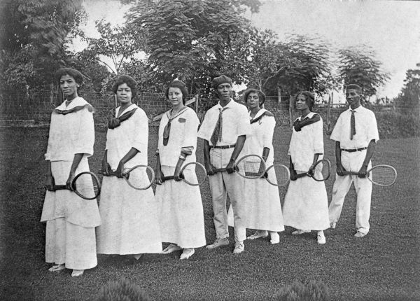 Florida Agricultural and Mechanical College for Negroes tennis students and instructors in Tallahassee (1915). The college was renamed Florida Agricultural and Mechanical University in 1953. | Florida Memory