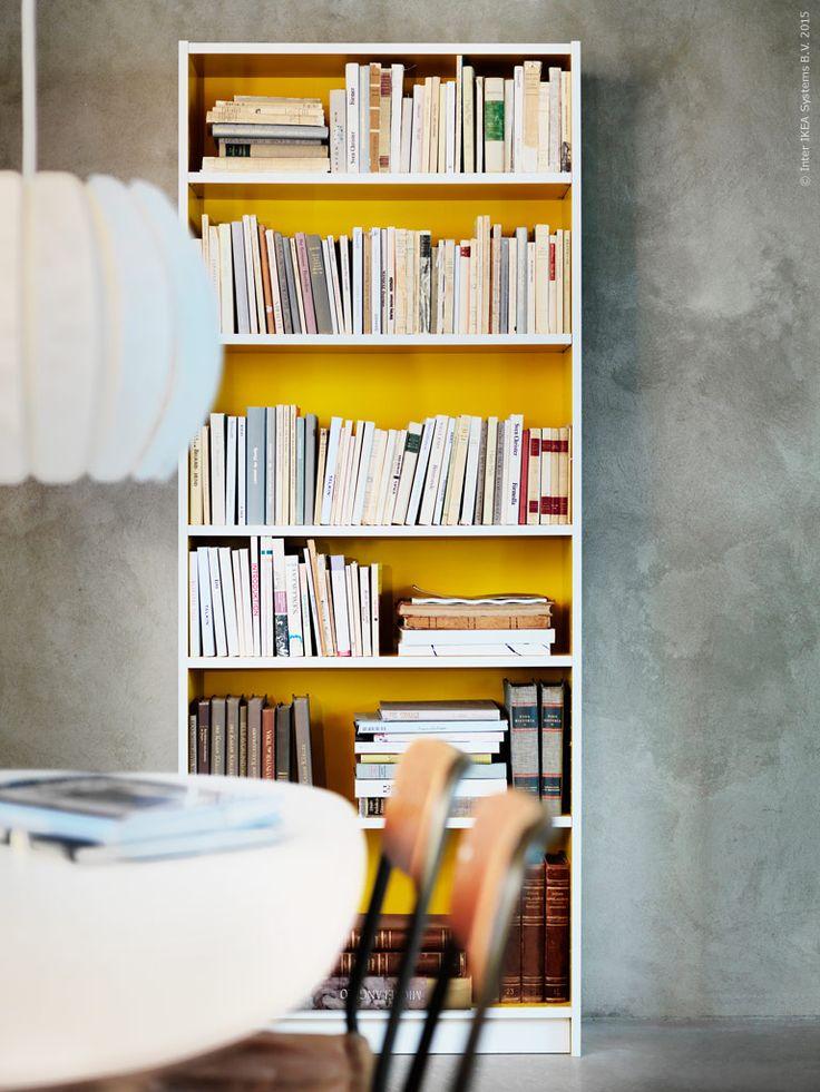BILLY bokhylla med gul folierad spånskiva, B80xD28, H202 cm.