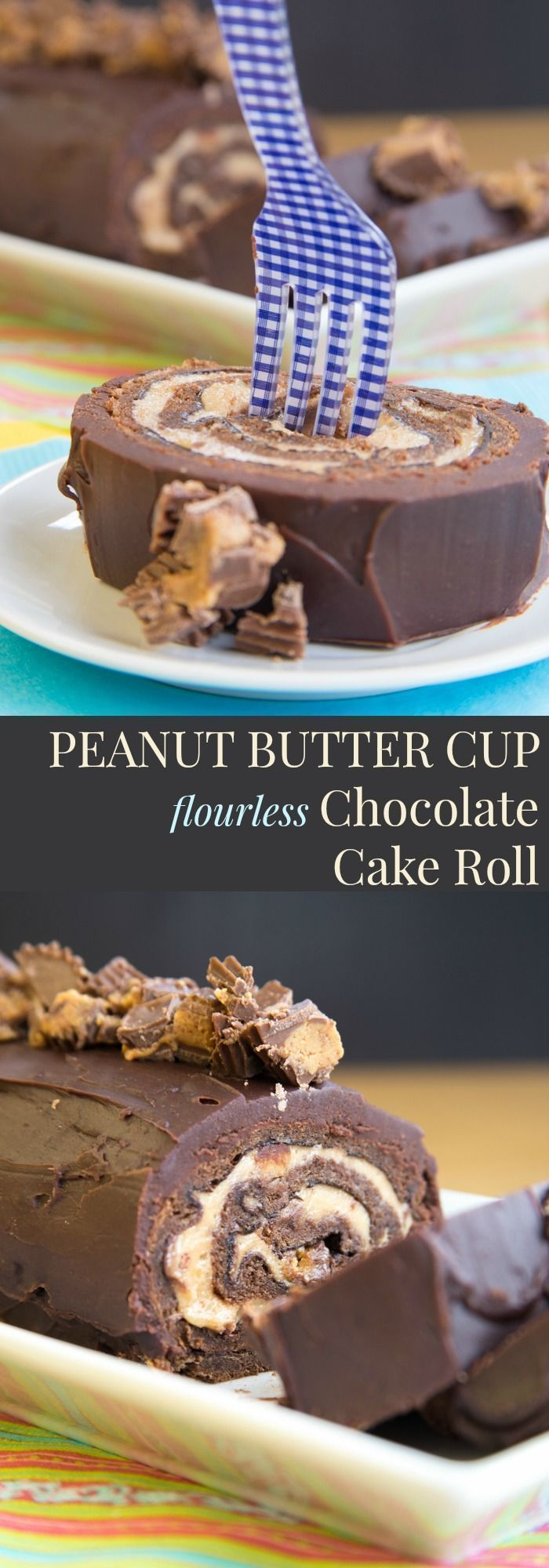 Peanut Butter Cup Flourless Chocolate Cake Roll ~ fill a tender sponge cake with peanut butter mousse studded with peanut butter cups and drench it in chocolate ganache for a decadent dessert recipe (gluten free too)! #dessertfoodrecipes