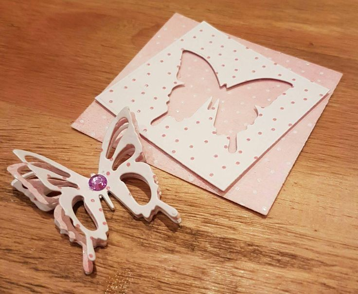 Pink polka dot butterfly embellishment pack for creating your