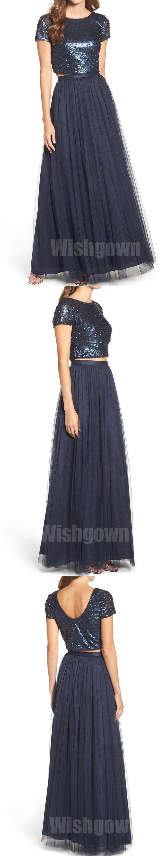 2 Pices Short Sleeves Navy Blue Sequin Top Tulle Long Bridesmaid Dresses, WG458 #bridesmaids #weddingpartydress
