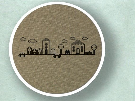 My Cute Neighborhood cross stitch pattern