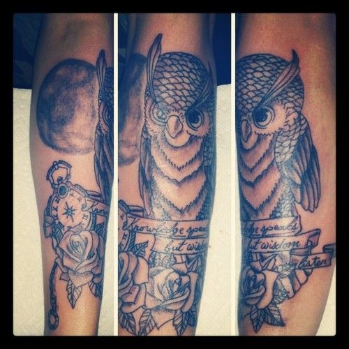 Owl with time clock and roses Tattoo - http://16tattoo.com/owl-time-clock-roses-tattoo/