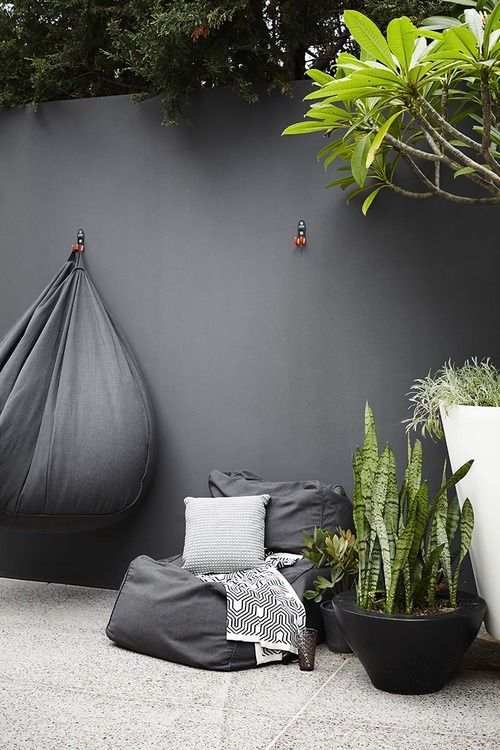 Grey outdoor bean bag chair