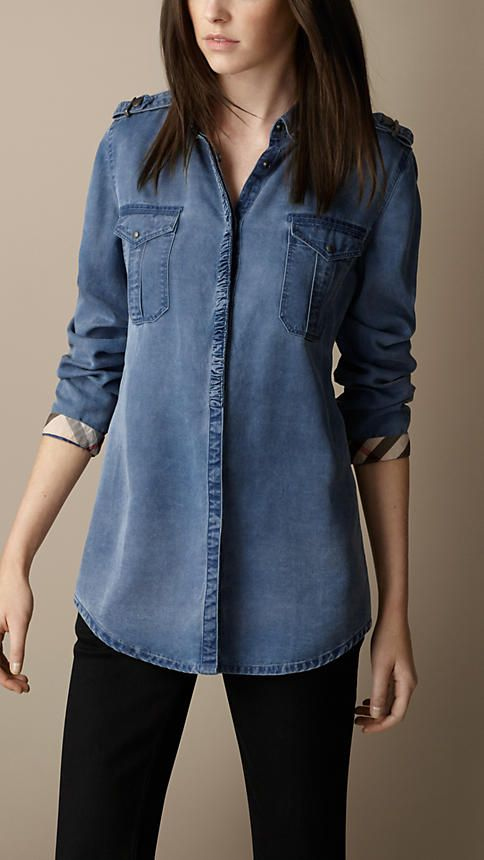 Relaxed Fit Denim Shirt         Check Cotton Blend Tunic    Cotton Gingham Shirt