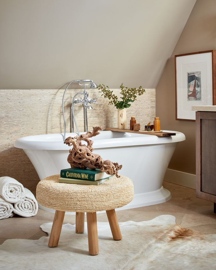 Our St. George Soaking Tub, Transitional Floor Mount Bathtub Faucet with Randall Cross Handles and Randall Widespread Sink Faucet shine in this simple, spa-like master bathroom design by Leslie Kalish and Gayle Leksan of LMK Interiors seen at the Traditional House Napa Valley Showhouse.