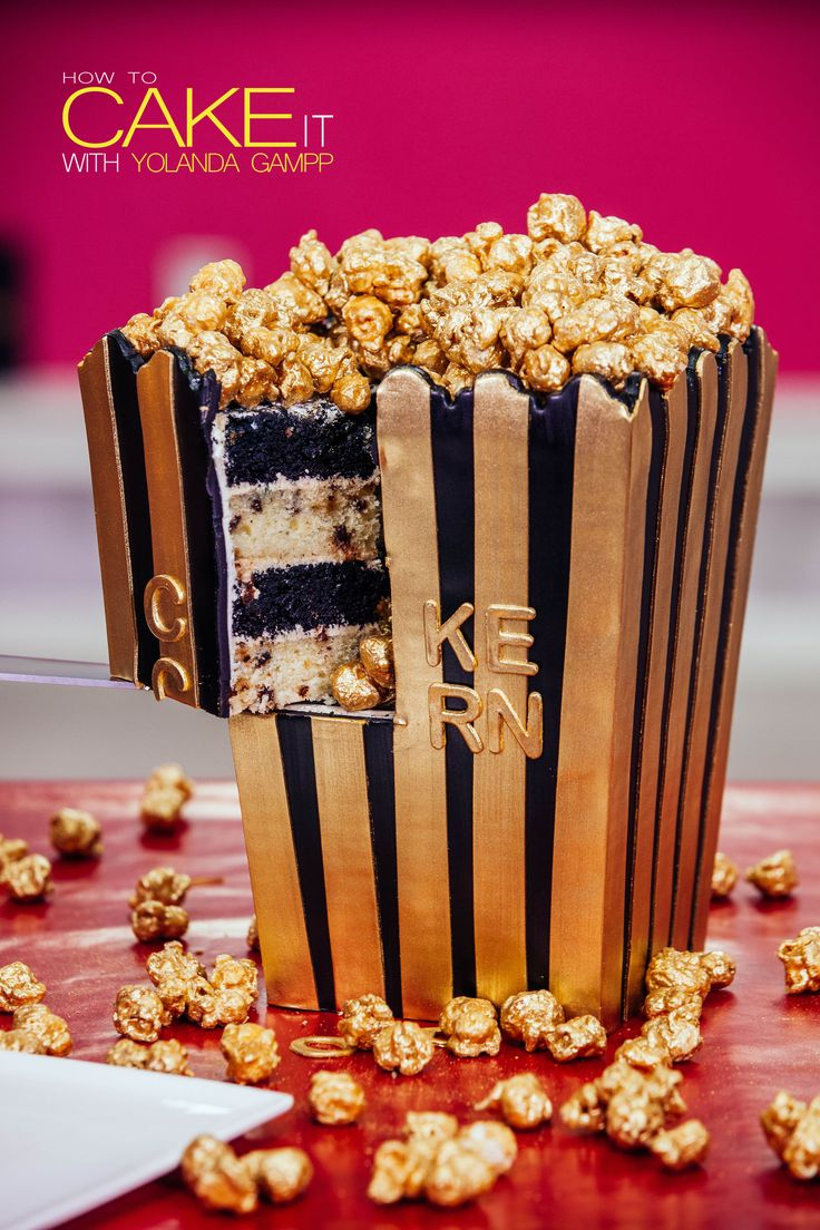 Glam up your Oscar Party this year with my Popcorn Box Cake! Dig into layers of chocolate and vanilla chocolate chip cake, caramel buttercream, and Oscar gold popcorn! Is Oscar Night here yet? #Baking #Dessert