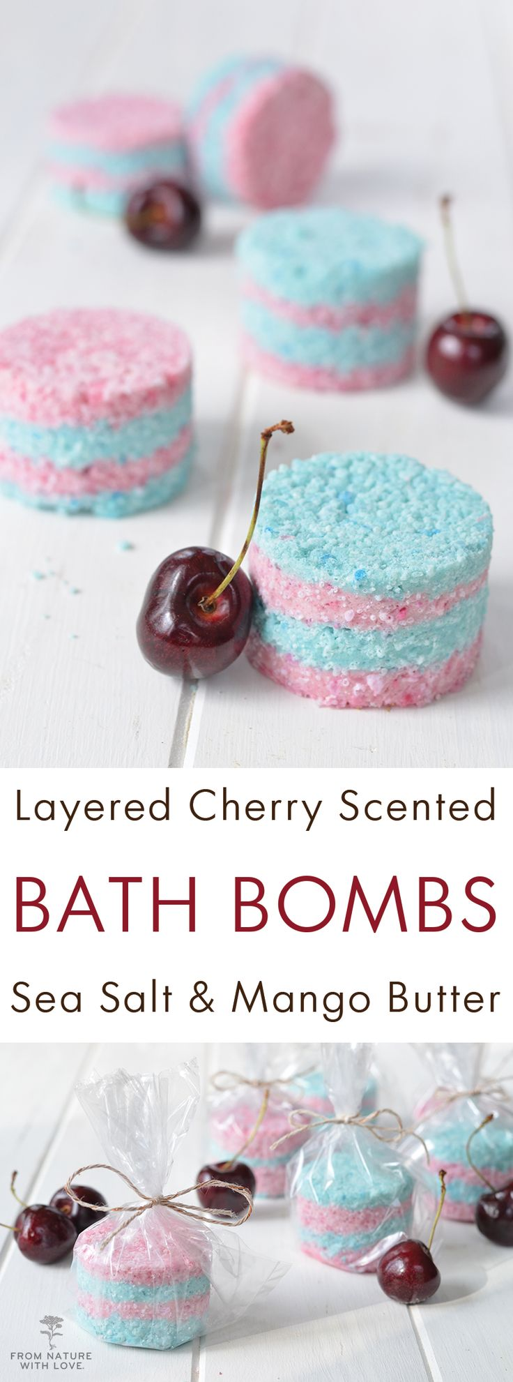 Layered Cherry Bath Bombs: These fun colored fizzing bath products are easy to make and oh so cute! Made with mango butter, kaolin clay, mineral micas, and a cherry scented Plant-Based Fragrance Oil.