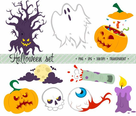 50% OFF SALE Halloween-illustraties pompoen illustraties Witch Ghost clipart digitale illustraties Cute Halloween-illustraties Hand getrokken Cartoon clipart