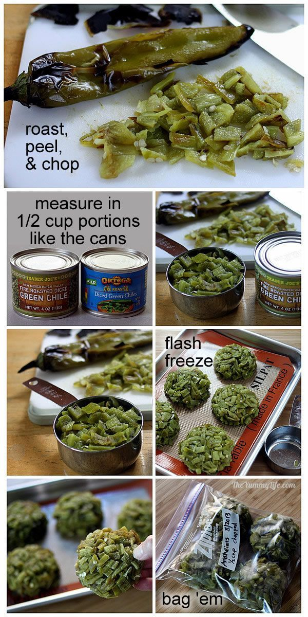 How to Freeze Green Chilies .. no more running to the store for expensive tiny cans lol... she has updated her page to also include how to freeze them whole and fresh, and how to freeze them whole and roasted!!