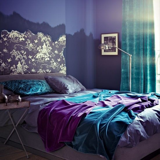 Purple Teal and Gray Bedroom | Modern purple bedroom | Bedroom decorating ideas | Bedroom | Livingetc ...