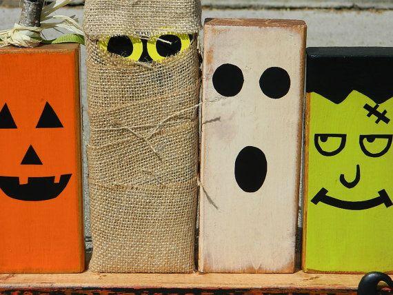 Primitiva decoración de Halloween con fantasmas por FayesAttic11