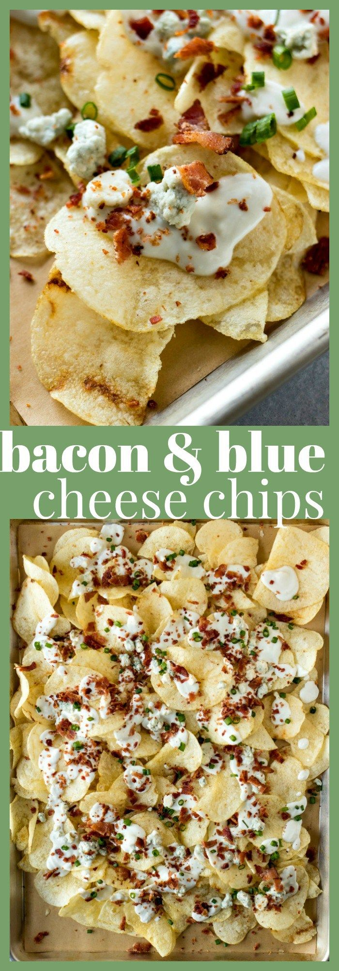 LAY'S Classic Potato Chips are covered with a homemade blue cheese sauce, blue cheese crumbles, bacon, and chopped scallions. It's the perfect snack to feed a crowd during the big football game!