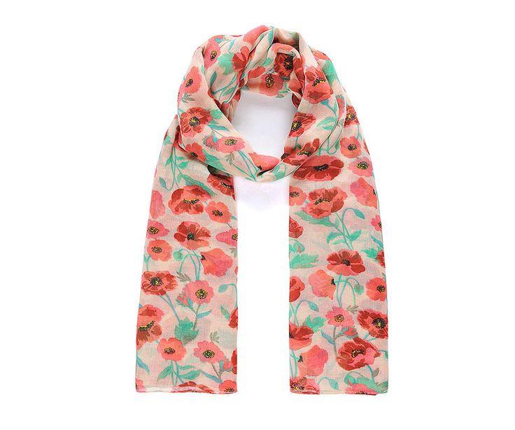 Red/green poppy print scarf