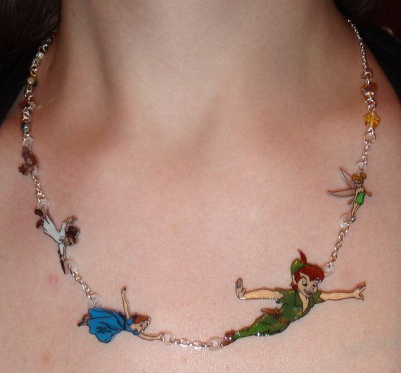 Fly away to Neverland Necklace golden stars by DrakonsLair on Etsy