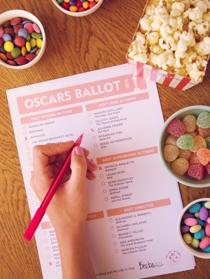 Download you free voting ballot for the Oscars tonight on My Life in Pink. Designed by @britneybeeby :)  #Oscars2015 #votingballot #popcorn #party #mylifeinpink #beebsblog