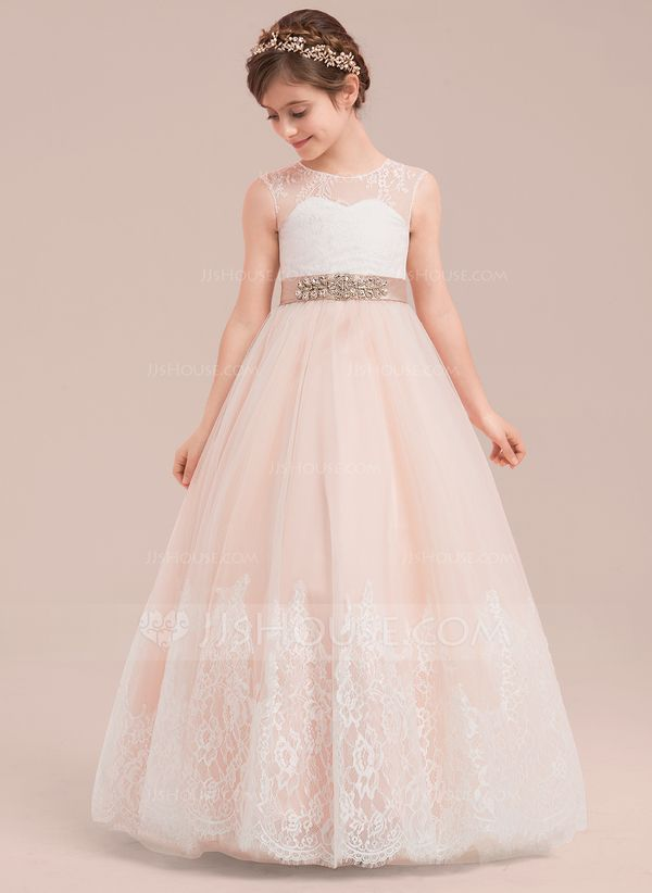 387dd83a843 Ball Gown Floor-length Flower Girl Dress - Satin Tulle Lace Sleeveless  Scoop Neck With Rhinestone