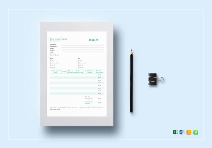 Simple Proforma Invoice Template $12 Formats Included  MS Excel - pages invoice template