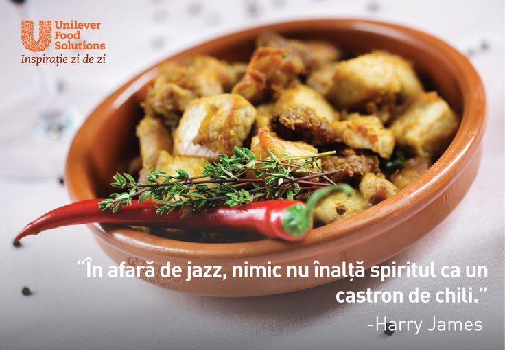In afara de jazz, nimic nu inalta spiritul ca un castron de chili. - Harry James