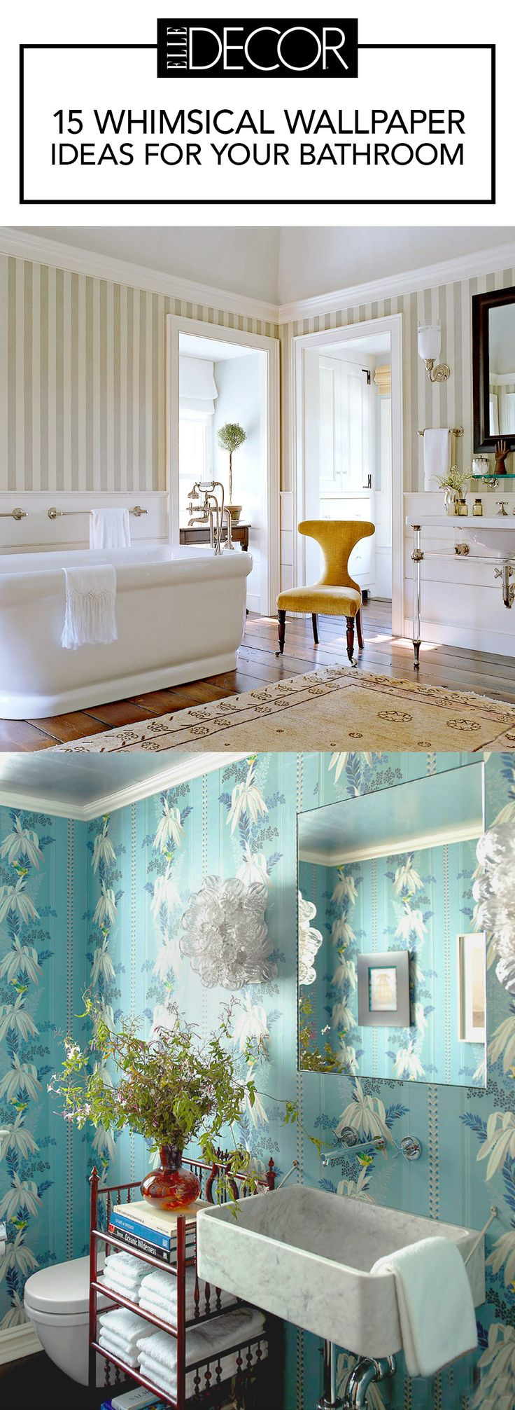 15 Whimsical Wallpaper Ideas For Your Bathroom See more