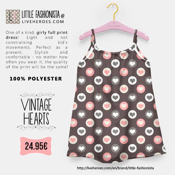 #vintage #retro #hearts #love #cute #girly #stylish #fashion #girldress #dress #liveheroes #liveheroesshop #littlefashionista