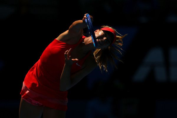 Maria Sharapova of Russia serves in her semifinal match against Ekaterina Makarova of Russia during day 11 of the 2015 Australian Open at Melbourne Park on January 29, 2015 in Melbourne, Australia. (January 28, 2015 - Source: Cameron Spencer/Getty Images AsiaPac)