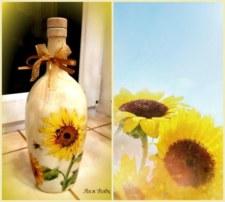 sunflowers ;) #sunflowers #bottle #decoupage