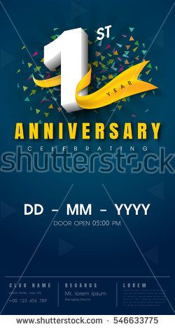 1 years anniversary invitation card celebration template