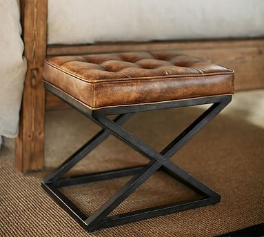 """Kirkham Tufted Leather X-Base Stool, 20""""w x 14""""d x 18""""h. $299. Use beside the blue chair, in front of the oak bookcases. Top with baseball tray for side table. #potterybarn"""