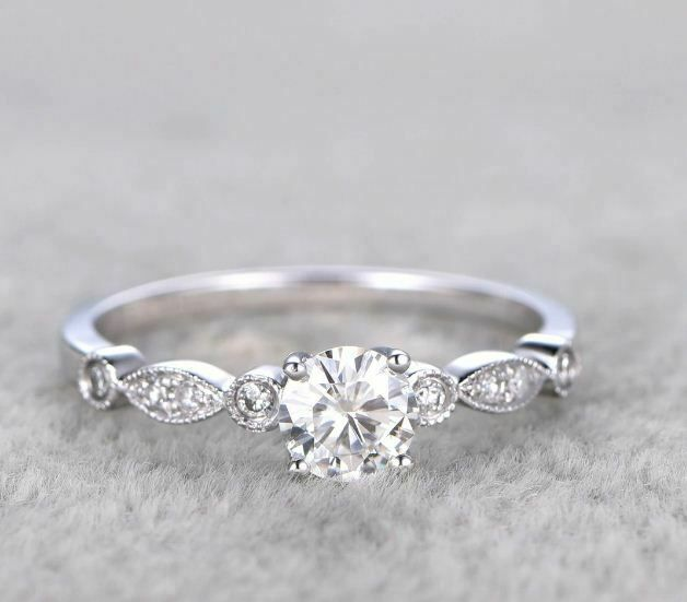 Details about 1.20Ct Brilliant Cut Moissanite Double Shank Engagement Ring 14k White Gold Over – Jewelstars