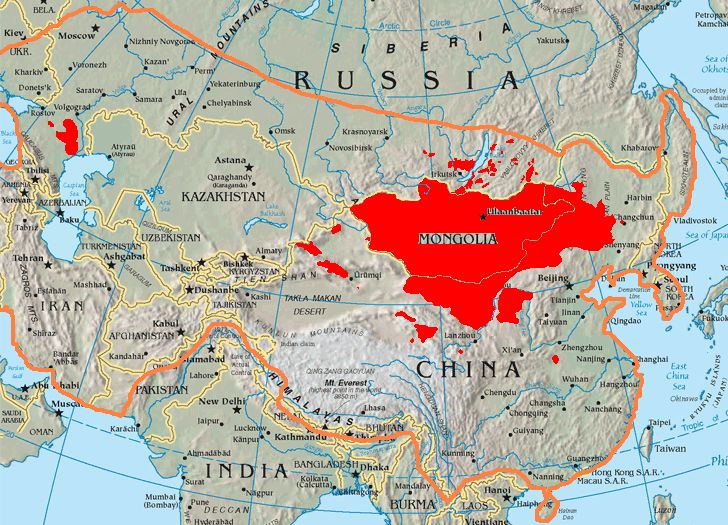 This is a map of the places that Mongol peoples live. The information is based off of w:en:Image:Mongolsethnic.jpg, and the map I started with is w:en:Image:Asia-map.png.  The orange line shows the extent of the Mongol Empire in the late 13th century. The red areas are the places dominated by ethnic Mongols.