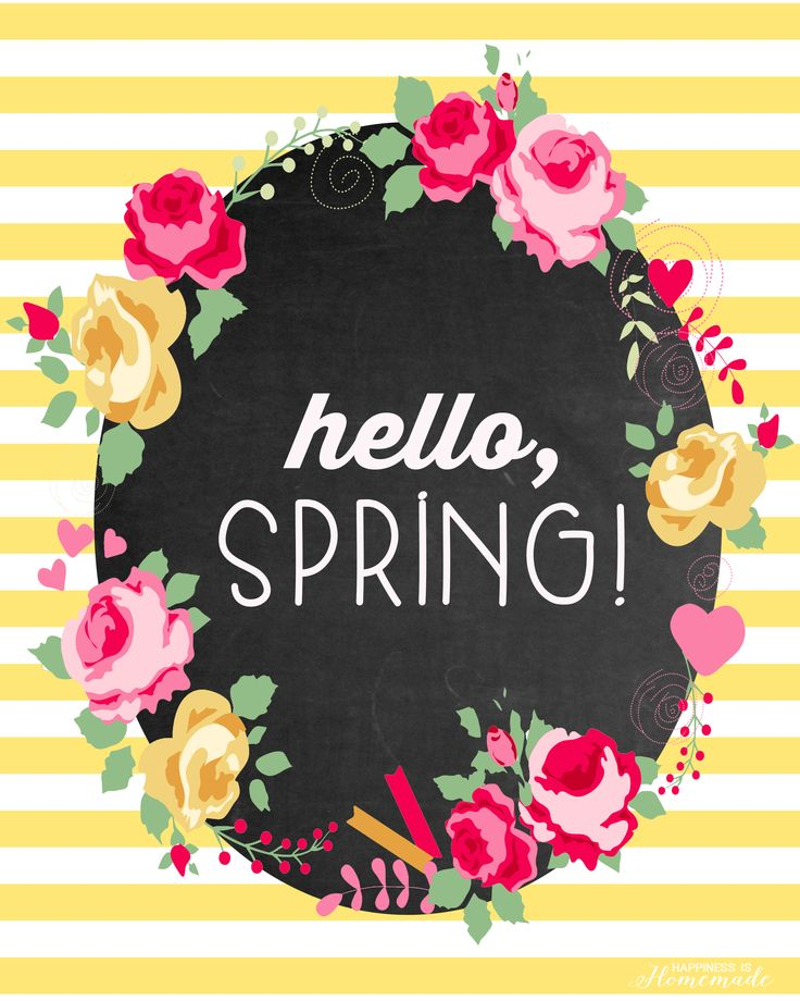 "This cute floral and chalkboard ""Hello, Spring!"" printable is a great way to welcome the new season! Spring can't come soon enough!"