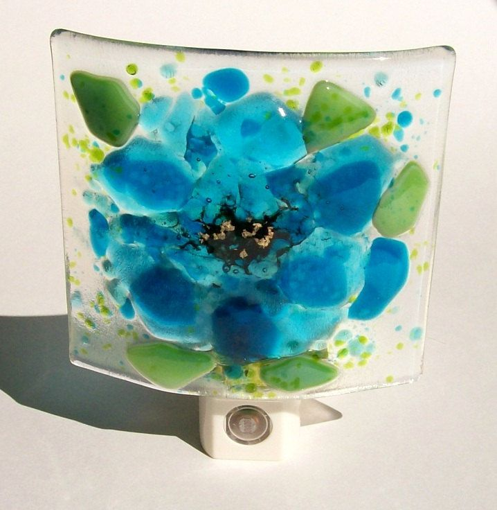 Fused Glass Turquoise Blue Flower Night Light.