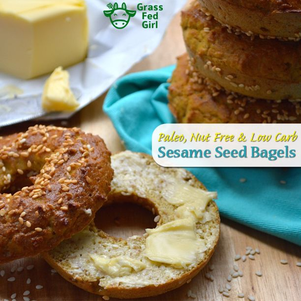 Low Carb Breakfast Bagels with Sesame Seeds (Paleo and Nut Free) Recipe Breads, Breakfast and Brunch with eggs, flax seeds, apple cider vinegar, coconut flour, baking soda, sea salt, sesame seeds, bread, banana bread, white bread, wheat bread, bread