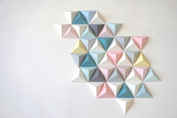 d coration fresque origami triangle salle de jeux pinterest fresque origami et deco murale. Black Bedroom Furniture Sets. Home Design Ideas