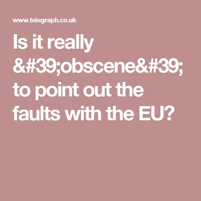 Is it really 'obscene' to point out the faults with the EU?