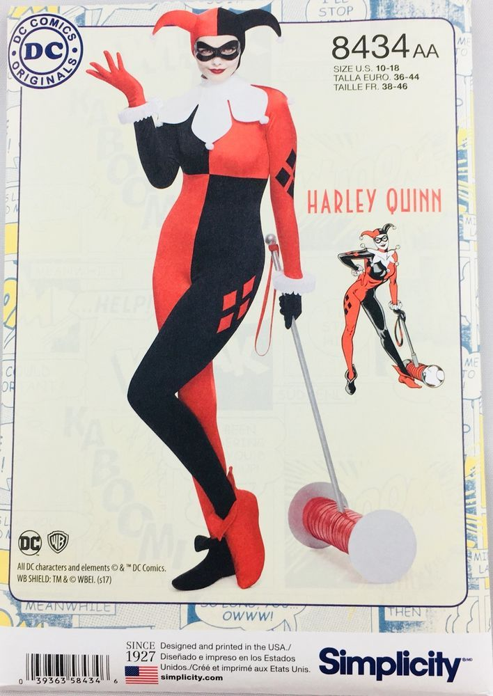 Simplicity DC ComIcs Costume #8434AA Harley Quinn Size 10 12 14 16 18 Uncut #Simplicity
