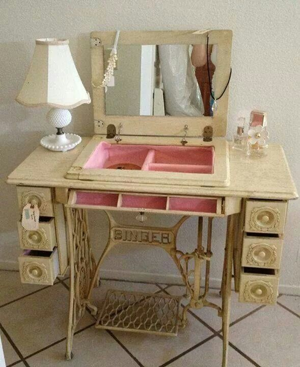 Sewing machine table re-cycled to jewelery chest