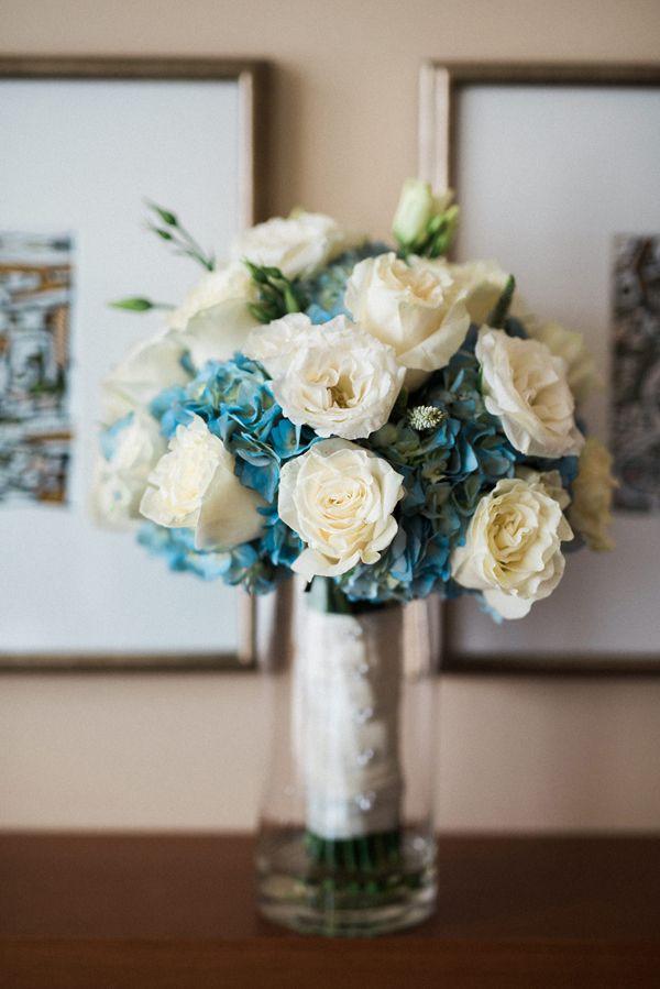 Blue hydrangea wedding bouquet | Elegant Disney Wedding at Four Seasons Hotel Silicon Valley | Annie Hall Photography | See more on My Hotel Wedding: https://www.myhotelwedding.com/blog/2016/04/11/elegant-disney-wedding-at-four-seasons-hotel-silicon-valley/