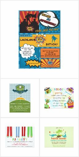 Party Invitations for Boys by Digi Dame Parties on Zazzle zazzle.com/digidameparties