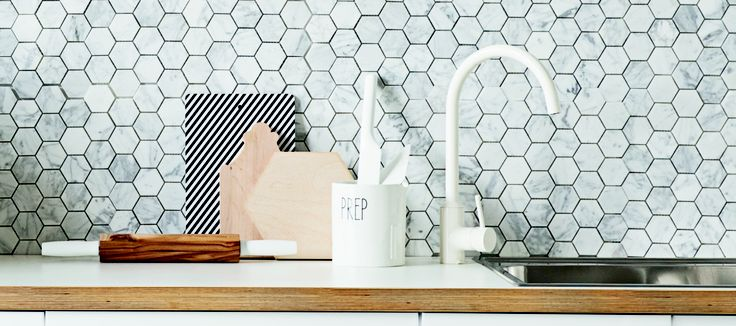 marble hexagon tile backsplash future kitchen pinterest