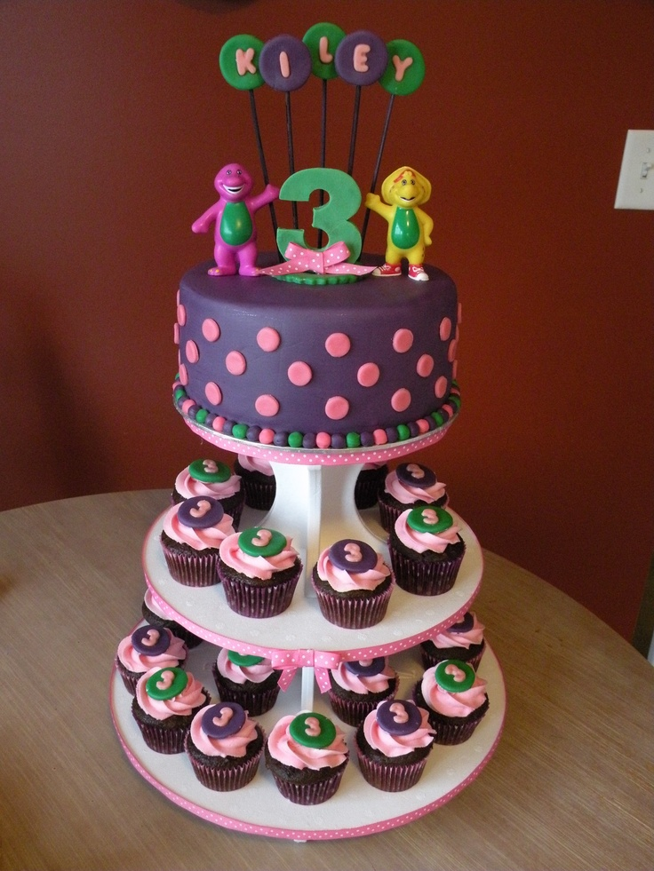 Barney cake & cupcake tower. But with a 2 instead of a 3 :)