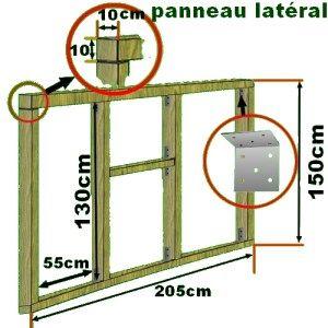 plan des panneaux latéraux du poulailler avec détails de montage