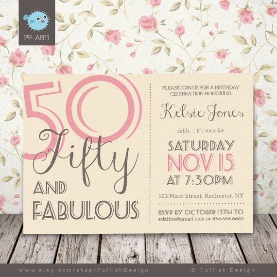50th Birthday Printable Invitation Adult Birthday by PuffishDesign