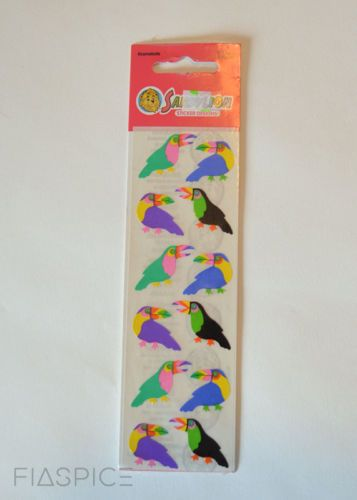 Sandylion vintage new sealed toucan tropical bird stickers 1 strip moc