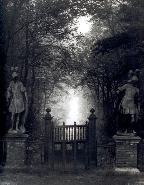 "Bill Brandt: Entrance to ""The Wilderness"" at Renishaw Hall, Derbyshire, the ancestral home of Dame Edith Sitwell (1945). Her father installed a notice at Renishaw that read: ""I must ask anyone entering the house never to contradict me in any way, as it interferes with the functioning of the gastric juices and prevents my sleeping at night.""'"